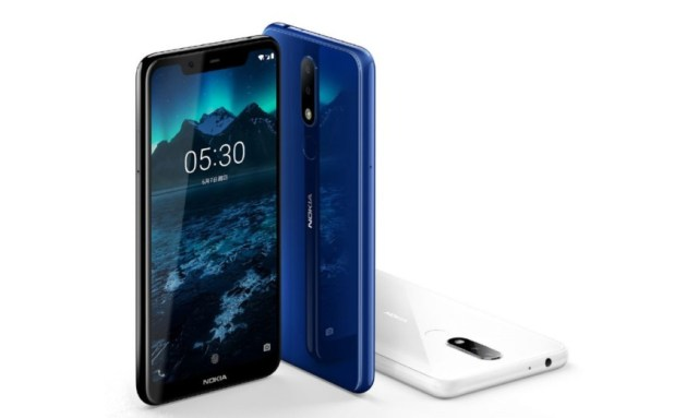 A Nokia X5 press photo in blue, black and white.