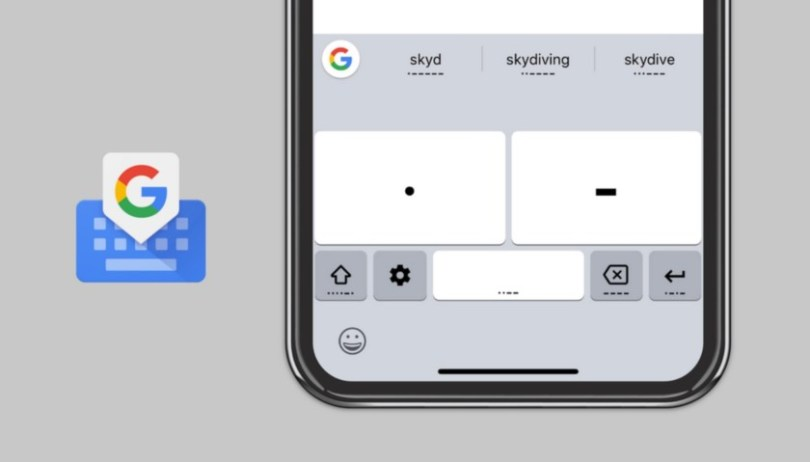 An image of the Gboard Morse Code input.