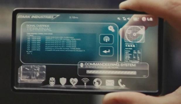 Tony Stark's transparent LG VX9400 smartphone in Iron Man 2