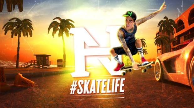 Promotional artwork for the game Nyjah Huston #SkateLife for Android and iOS.