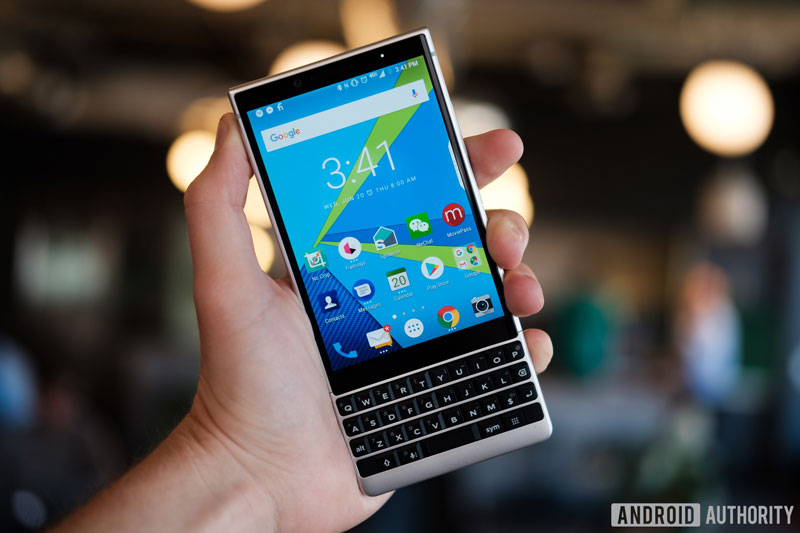 blackberry key2 held in hand