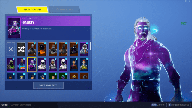 A screenshot of the Samsung Galaxy Skin for Fortnite Mobile for Android.