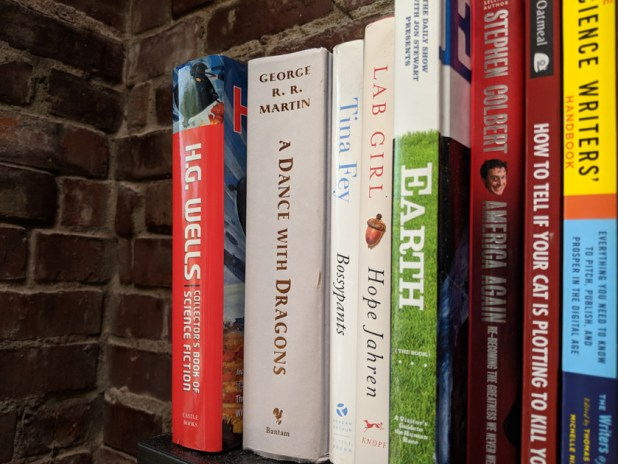 An image of books on a shelf with a brick wall behind them.