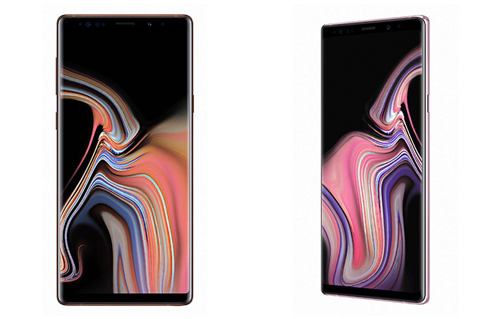 Samsung Galaxy Note 9 leaked renders in copper and rose gold.