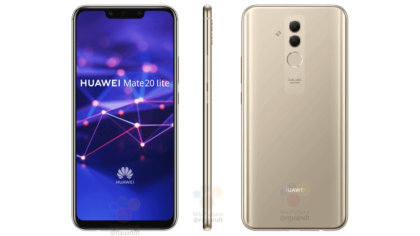 Leaked render images of the Huawei Mate 20 Lite from the front and back.