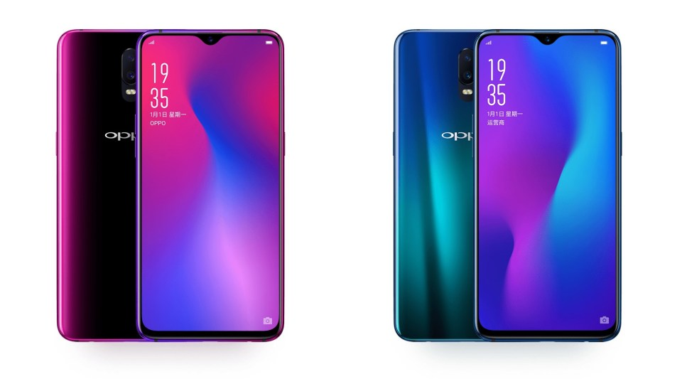 Oppo R17 flagship phone in pink and blue.