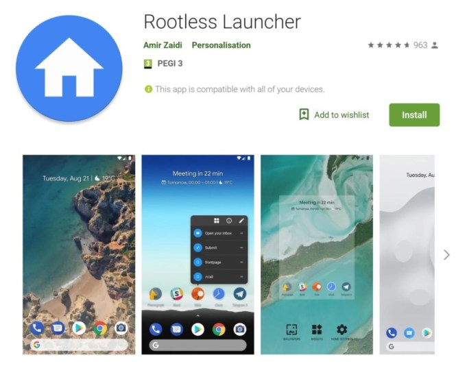 The Rootless Pixel Launcher app page in the Google Play Store.