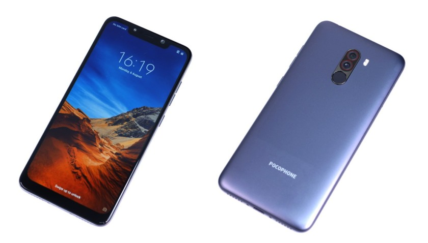 The Xiaomi Pocophone F1 front and back from leaked images.