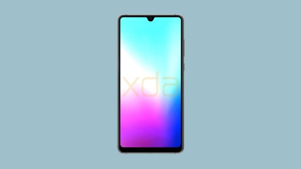 render of huawei mate 20 front with waterdrop notch and bezelless screen