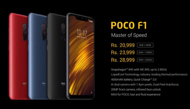 The Pocophone F1 pricing.