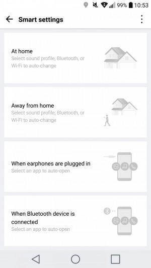 The smart settings menu on an LG smartphone.