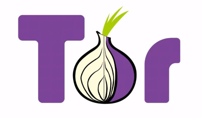 "The Tor browser logo with purple lettering and an onion in place of the ""o."""
