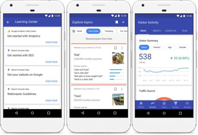 Three Google Blog Compass app screenshots.