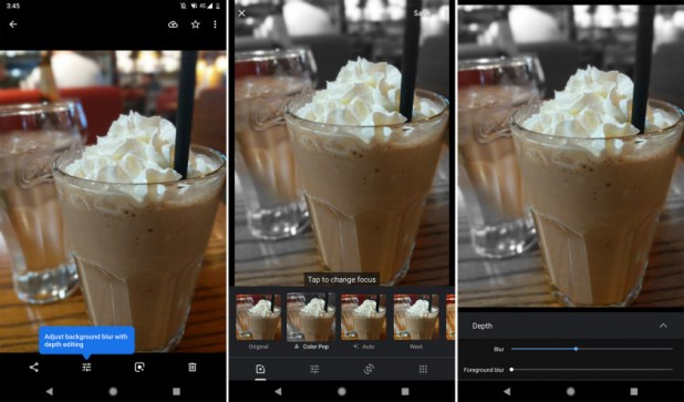 Screenshots of a test phase of the Google Photos manual bokeh effect option.