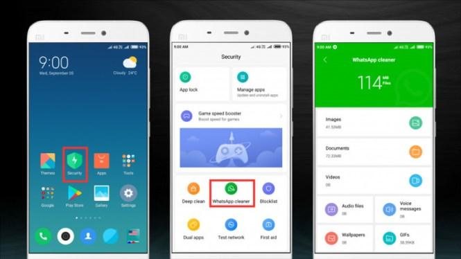 WhatsApp Cleaner on Xiaomi's MIUI 10.
