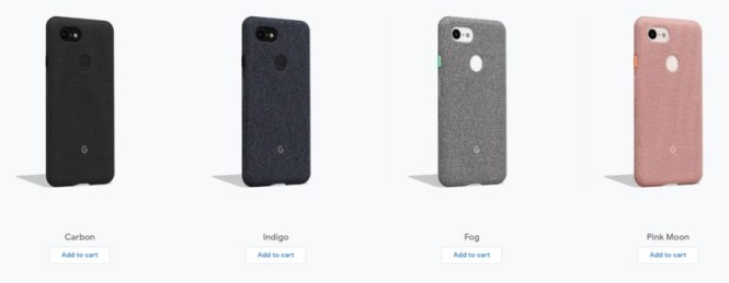 The four available colors of the Google Pixel 3 Fabric Case.