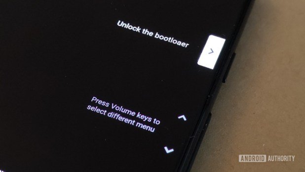 Image showing how to confirm unlocking the Pixel 3 bootloader