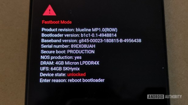 Fastboot screen showing the Pixel 3 bootloader unlocked