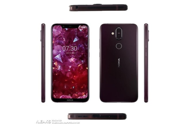 Alleged renders of the Nokia 7.1 Plus from all sides.