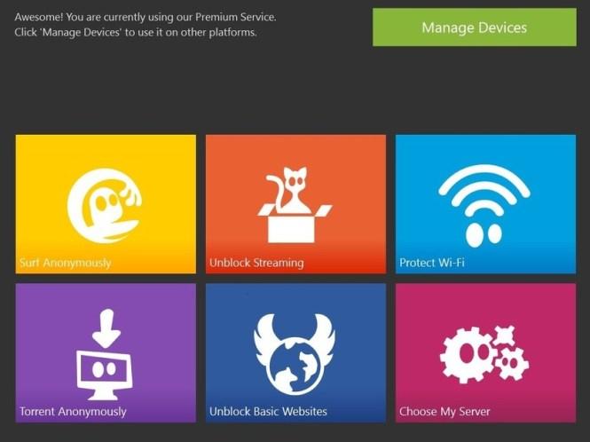 cyberghost vpn windows app main screen