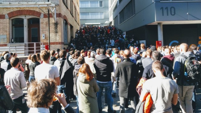 Google employees walk out in protest.