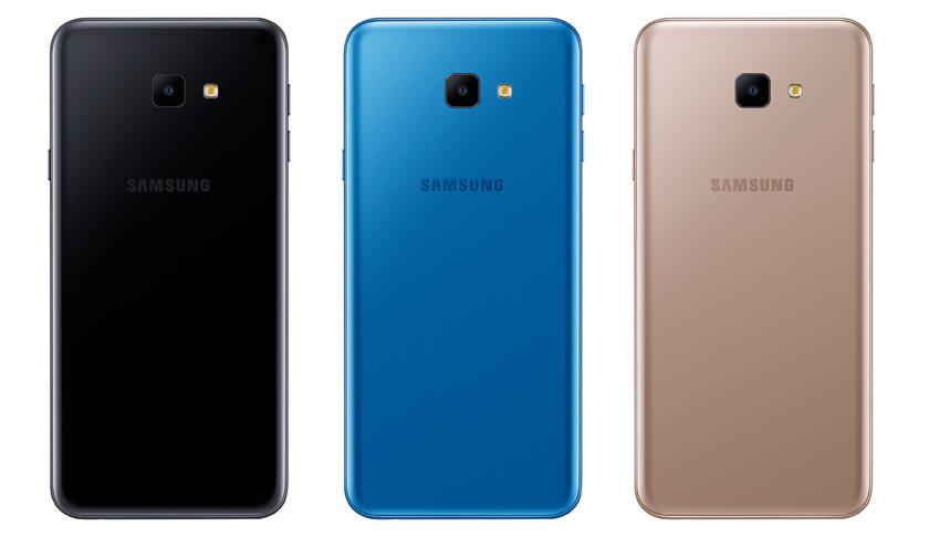 Three images of the Samsung Galaxy J4 Core in black, blue and gold.