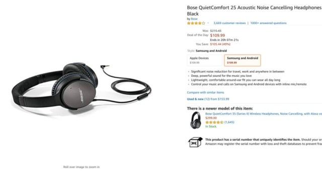 Cyber Monday Amazon headphones deal Bose Quietcomfort 25 Amazon