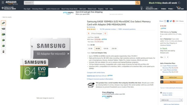 Samsung EVO Select microSD Card Deal