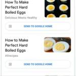 Google Assistant pulling up hard-boiled egg recipes.