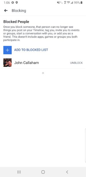 Facebook unblock list
