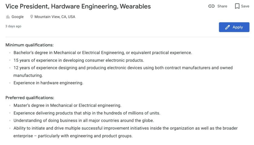 Google Careers Listing for Vice President of Hardware Engineering, Wearables