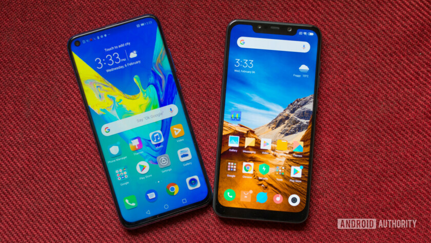 Honor View 20 vs Pocophone F1 Front