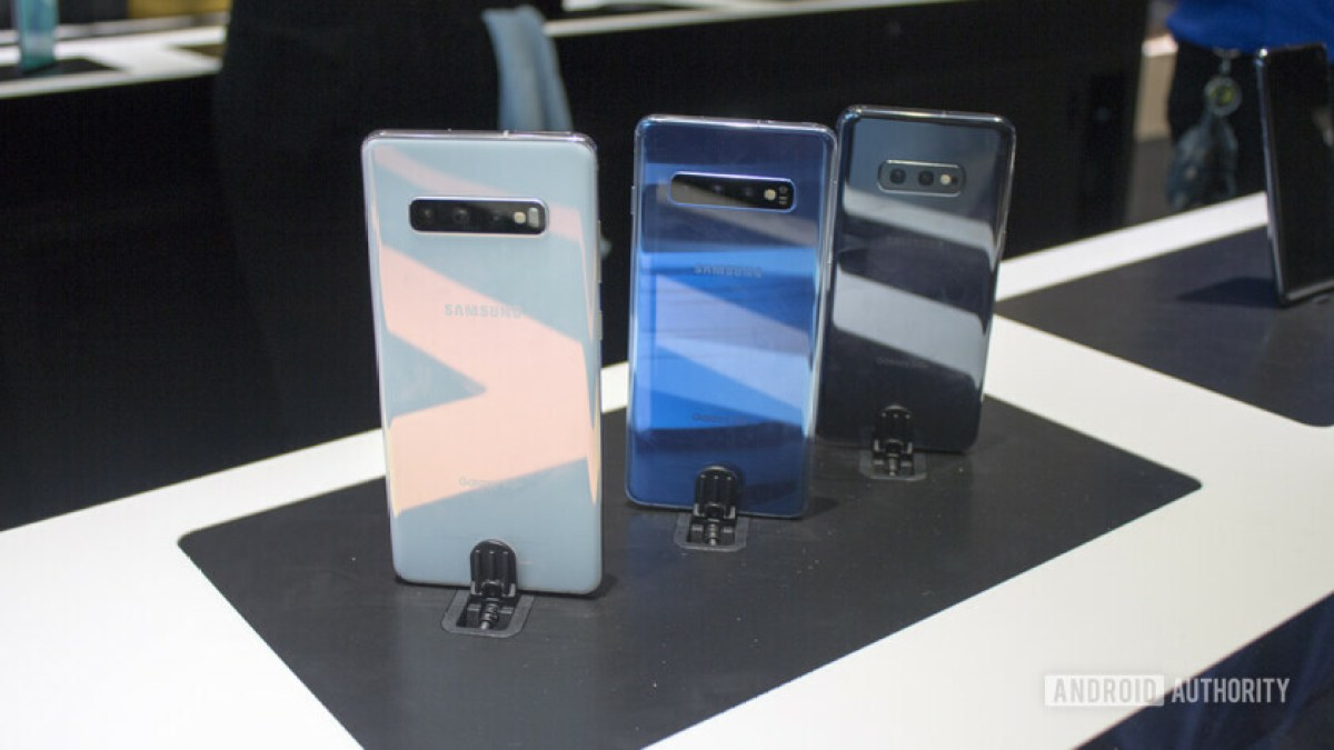 The three variants of the Samsung Galaxy S10 lined up on display in the Samsung Experience Store in Long Island.