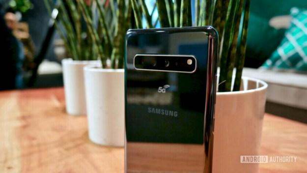 Samsung Galaxy S10 5G rear camera module close-up.