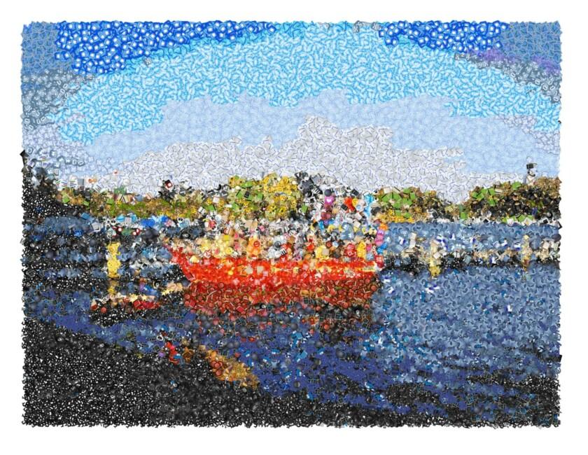 A boat scene made of emoji.