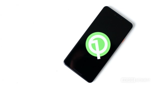 The Android Q logo on a smartphone.