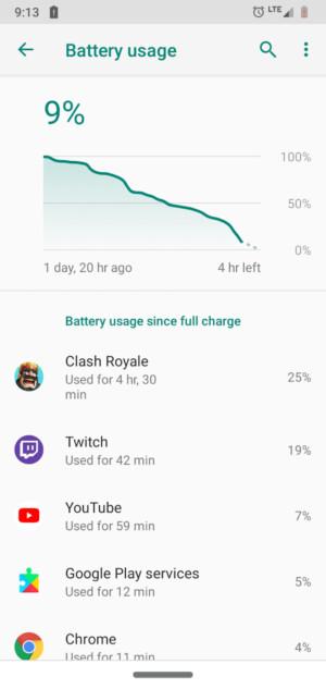Moto G7 Power Review battery life screenshots