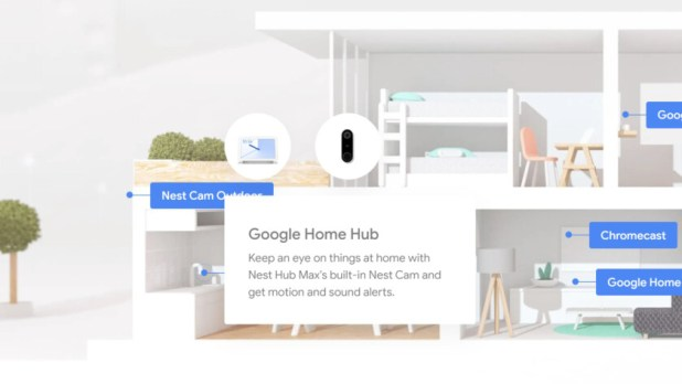 A screenshot of an official Google website where a product called the Nest Hub Max is referenced, which is an unannounced item.