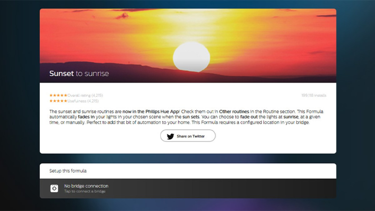 Интерфейс веб-сайта Philips Hue для заката и восхода солнца