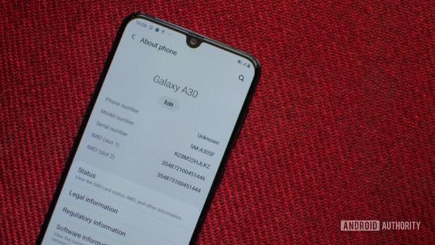 Samsung Galaxy A30 with waterdrop notch