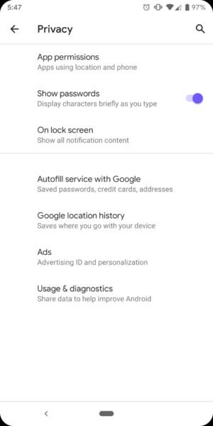 Screenshot of the Android Q developer preview lockscreen privacy menu