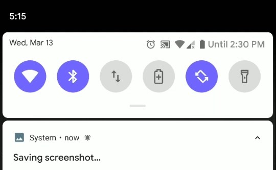 Screenshot of the android q notification bell