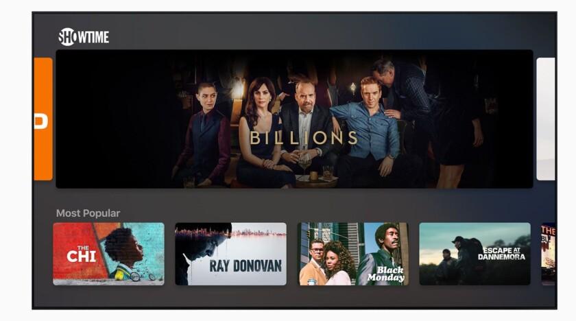 Capture d'écran de la section des émissions de télévision sur la nouvelle Apple TV Plus