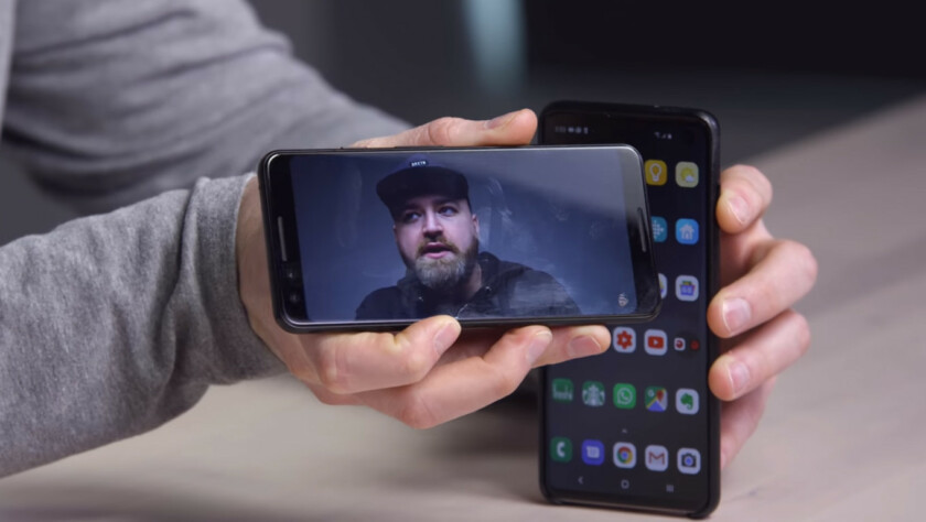 The Galaxy S10 face unlock being spoofed.