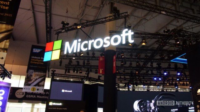 microsoft logo sign at mwc 2019