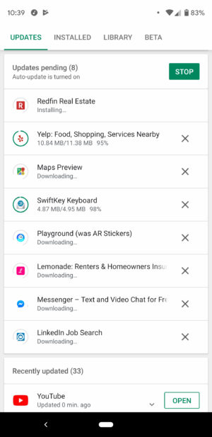 Screenshot of simultaneous app downloads in the Google Play Store.