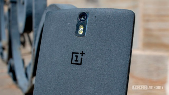 A closeup of the back of the OnePlus One showing its single rear camera.