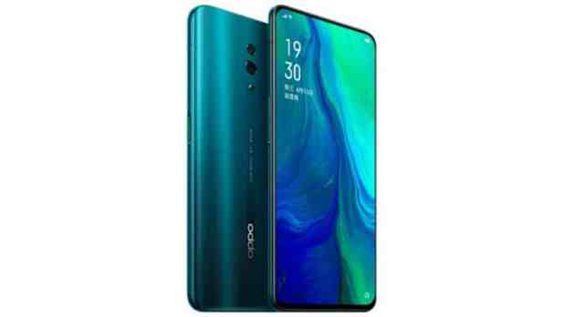 Render of the Oppo Reno in green.