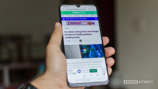 Samsung Galaxy A70 front display with web browser android authority
