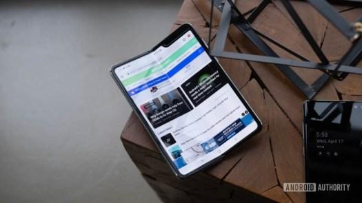 Samsung Galaxy Fold half folded on table